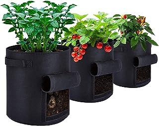 Potato Grow Planter PE Container Bag Pouch Root Plant Growing Pot Side Window (34cmDx35cmH)