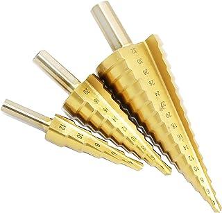3 x stegborrar konisk fräs spiralnut HSS konisk borr för stål, aluminium, koppar, rostfritt stål, trä och laminat