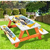 Mantel de mesa y banco balinés de picnic con borde elástico tradicional, 28 x 72 pulgadas, juego de 3 piezas para camping, comedor, exterior, parque, patio