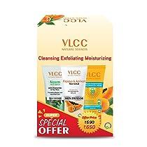VLCC Neem Face Wash (150ml) & Papaya & Apricot Face Scrub (80gm) & Matte Look SPF 30 Sunscreen (100gm), White