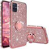 Funda para Samsung Galaxy A51 4G, Glitter Brillante Diamante Carcasa Soporte Magnético de 360 Grados Anillo Giratorio Suave Silicona Gel TPU Anti-Choques y Anti- Arañazos Protectora Carcasa - Oro Rosa