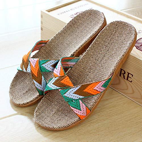 YYFF Damen Herren Hausschuhe,Leinenbodenpantoffeln, leichtes Paar-Orange_37-38,Sommer Streifen Hausschuhe