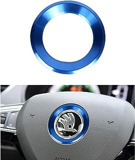 VDARK Lenkrad Logo Kappen Aufkleber Aufkleber Emblem Abzeichen Logo Abdeckung für Skoda Zubehör Innendekoration Metall Octavia Super Karoq Kodiaq GT Kamiq GT 14 15 16 17 18 19 20 (Blau)