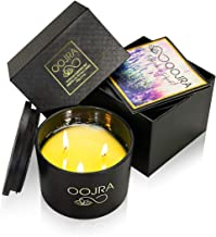 OOJRA Scented Candles - Made with Essential Oils & Soy Wax - 3-Wick Candle 13 oz (370g) 40+ Hours Includes Lid and Gift Box 13 oz Green 3023-1020-0S-XJP