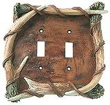 DEMDACO 30170289 Bark Antler Double Switch Plate