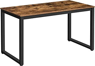 HOOBRO Bureau d'ordinateur, Table, Poste de Travail, 140 x 59 x 76 cm, Cadre en Acier, Dessus de Table Rustique, Montage F...