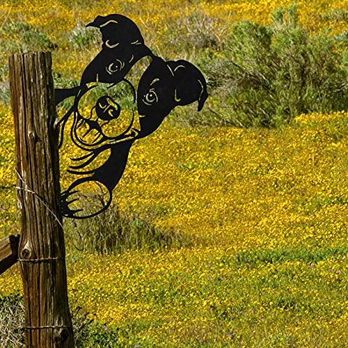 AINIYA Home Decor Peeping Cow Metal Art Cow Silhouettes Animal Garden Stake Tier Metall Wandkunst für Bauernhaus Outdoor Garten Dekor Bauernhof Zaun Moderne Kunstwerke