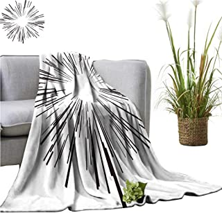 YOYI Comfortable Blanket Starburst Black Lines from The Middle Cozy Hypoallergenic 60