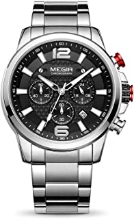 MEGIR Men's Quartz Business Watches Chronograph Military Luminous with Stainless Steel Strap 2156