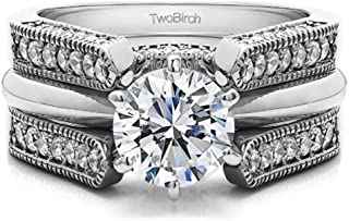 TwoBirch Guard & Solitaire Set,Includes 2 Pieces: Guard and 1 Carat CZ Solitaire Size 9.5