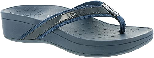 Vionic femmes s Pacific High Tide Toepost Sandals   Ladies Mid Heel Flip Flops with Concealed Orthotic Support - Navy Navy 6W