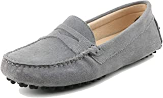 Girls Womens Casual Comfortable Suede Leather Driving Moccasins Loafers Boat Shoes Flats
