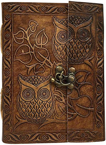 Owl Leather Journal,: Antique Handmade Leather Bound Daily Notepad for Men & Women Unlined Handmade Paper 7 x 5 Inches, Handmade Traveler's Notebook