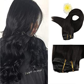 Full Shine 8 Pieces Off Black Remy Clip in Hair Extensions 16 inch 120g Seamless Clip in Hair Extensions Real Good Quality Human Hair Remy Clip in Extensions For Short Thin Hair