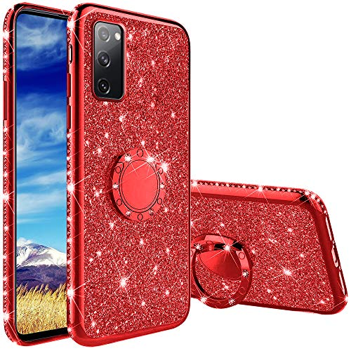 Coqin Hülle Kompatibel mit Samsung Galaxy S20 FE/S20 FE 5G, Glitzer Diamant Handyhülle mit Ring Ständer Schutzhülle, Superdünn Stoßfest TPU Silikon Tasche Glitzer Handyhülle Schutzhülle - Rot