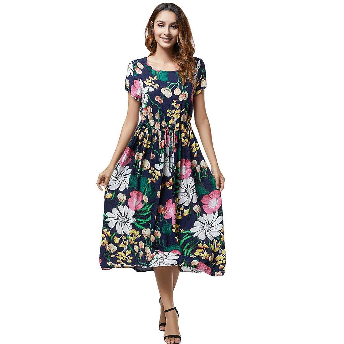 Women Boho Aline Midi Dress Summer Casual Crew Neck Short Sleeve Flowy Pleated Swing Tie Strap Floral Print Beach Dresses