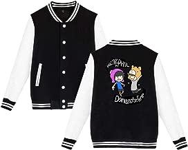 BBABC Dan And Phil Mens & Womens Casual Style Hoodie Baseball Uniform Jacket Sport Coat Black