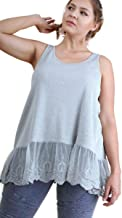 Umgee Women's Ribbed Tank Top Extender with Lace Trim Plus Size