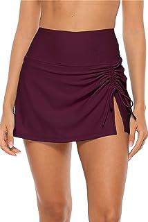 ALove Womens High Waisted Split Swim Skirt Sporty Drawstring Skirted Swim Bottom with Built-in Panty