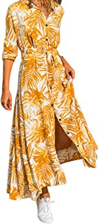 Anliyou Women/'s Printed Sleeveless V-Neck Maxi Dress Split Hem Baggy Kaftan Long Dress