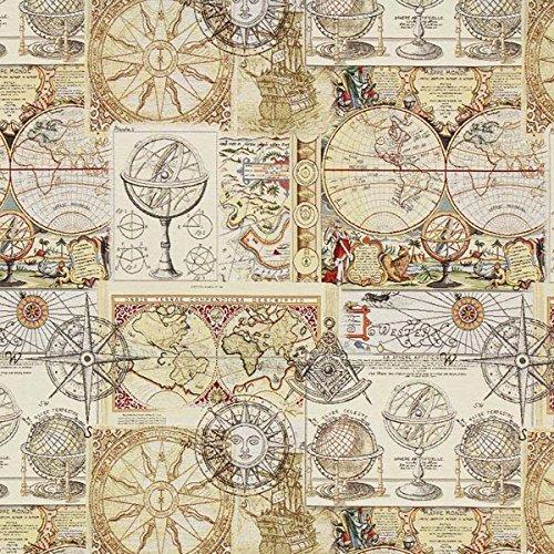 Fabulous Fabrics Jacquard Gobelin Weltkarte – beige — Meterware ab 0,5m — zum Nähen von Dekoration, Kissen und Tischdecken