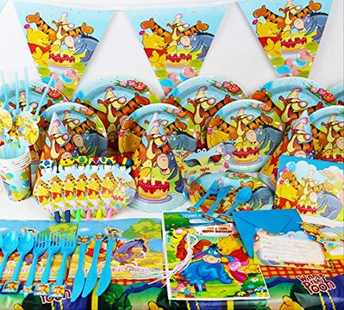Utensilios de mesa de cumpleaños degradables Tema de dibujos animados Utensilios set de fiesta de cumpleaños, suministros de diseño de vacaciones accesorios de decoración suministros de fiesta