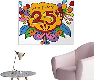 Tudouhoho 25th Birthday Poster Print Cartoon Styled Composition with Floral Details Swirls and Balloons Print Photo Wall Paper Multicolor W36 xL32