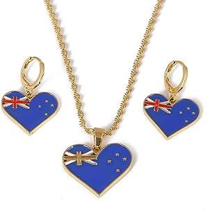 ステンレス鋼エナメルオーストラリアペンダントネックレスイヤリングトレンディなオーストラリア国旗チャームジュエリーセット