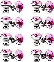30mm kristallen handvat, meerkleurige kristallen knop 16PCS, meubelladeknop, garderobedeur enkel gat handvat-Roze