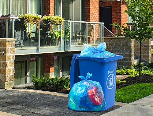 """Recycling Trash Bags, 33 Gallon, (100 case w/Ties) 33""""W x 39""""H, Large Blue Garbage Bags, 1.2 Mil (Blue)"""