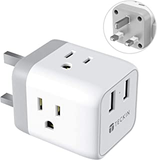 UK Ireland Hong Kong Power Adapter,TECKIN 5 in 1 UK to US Travel Plug Adapter with 2 USB Ports and 3 American Sockets,for England Scotland Singapore Malaysia (Type G)