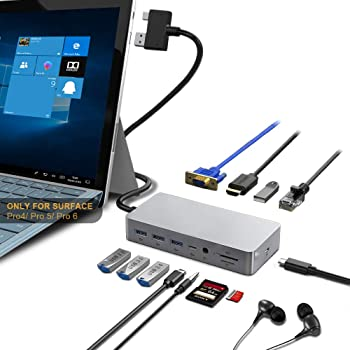 Surface Pro Dock Only for Surface Pro 4/Pro 5/Pro 6 USB Hub with Gigabit Ethernet Port, 4K HDMI VGA Port, 3xUSB 3.0, USB 2.0, Audio, USB C, SD&TF Card Slot Combo Docking Station for Surface Pro 4/5/6