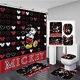 xingy&eshoop Duschvorhang-Mickey Mouse Wasserdichtes Waschbares Bad Polyester Stoff-Badmatte-Vierteiler Anzug 150 (B) X180 (H) cm