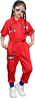 Boys Girls Fashion Jumpsuit Zip-Front Coveralls Hip Hop Street Dance Outfit (Red, 12-14)