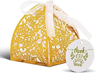 KAZIPA 50pcs Laser Cut Rose Wedding Party Favor Boxes with Thank You Tag, 2''x2''x2.4'' Gift Candy Boxes for Anniverary Party Wedding Favor (Gold)
