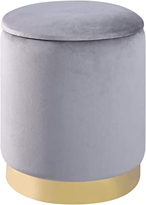 Amazon Com Birdrock Home Round Taupe Velvet Ottoman Foot Stool Soft Compact Padded Vanity Stool Great For The Living Room Bedroom And Kids Room Small Furniture Taupe Furniture Decor