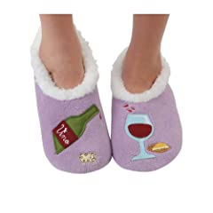 99e5b75372d ... Indoor Outdoor Sole Constrast Stitching Suede Moccasins Slippers · Snoozies  Womens Classic Splitz Applique Slipper Socks