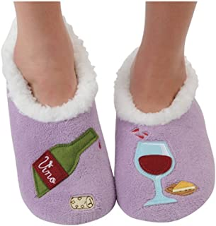 ada4616ebb0 Snoozies Womens Classic Splitz Applique Slipper Socks