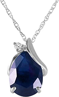 Galaxy Gold 2.53 Carat 14k Solid White Gold Necklace with Natural Diamond and Pear-Shaped Sapphire
