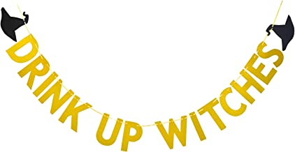 FECEDY Gold Glitter Alphabet Drink Up Witches Banner Hat Bunting for Halloween Party Decorations