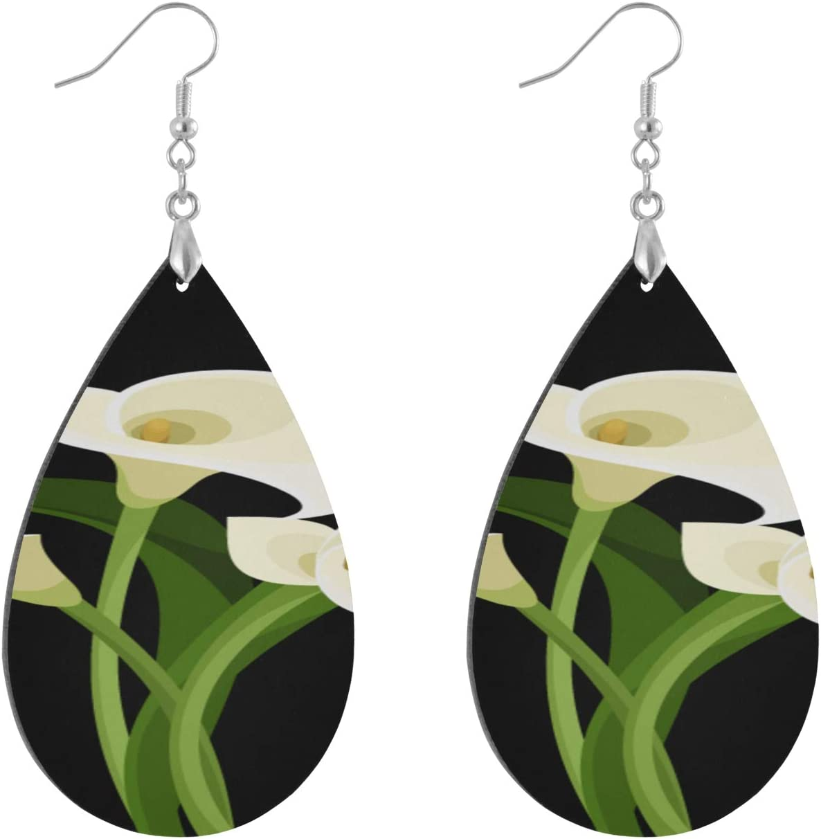 Huqalh Elegant Fashionable Calla Lily Wooden Earrings Fashion Painted Dangle Geometric Personalized Dangle Earrings for Women Fashion Water Drop/Leaf Wooden Earring for Women Lady Girls