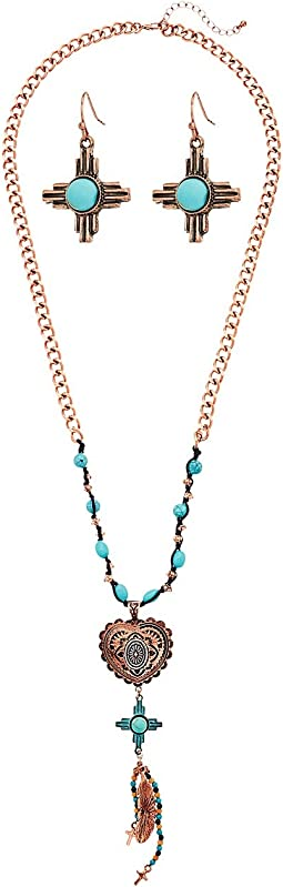 Copper Heart and Turquoise Necklace/Earrings Set