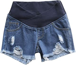 Women's Low Rise Wide Elastic Band Waist Pregnant Denim Shorts Maternity Short Jeans