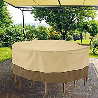 D&D Waterproof Garden Round Table & Chair Cover, Heavy Duty UV-Resistant Windproof Patio Furniture Covers, Outdoor Furnitu...
