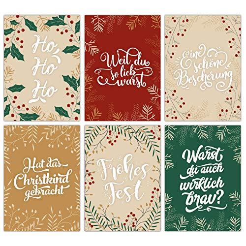 Papierdrachen Weihnachtskarten Set - 12 Postkarten für Weihnachten - Kunstdruck zum Verschicken und Sammeln - Set 12 Handlettering