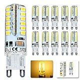 Elinkume 10X G9 Ampoule LED 3.5W Super Lumineux LED Bulb 48 SMD 2835 Spot LED Blanc Chaud 300-320LM LED à économie d'énergie Ampoule LED AC200-240V