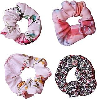 NNR Matkooz Girl's Wallet hair scrunchies_Hair tie rubber band Secret pocket - Pack of 4 pcs , Multicolour Printed