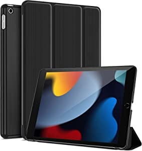 ProCase for iPad 10.2 Case 2021 iPad 9th Gen / 2020 iPad 8th Gen / 2019 iPad 7th Gen Case, Slim Tri-fold Stand Hard Back Shell Protective Smart Cover for iPad 10.2 Inch –Black