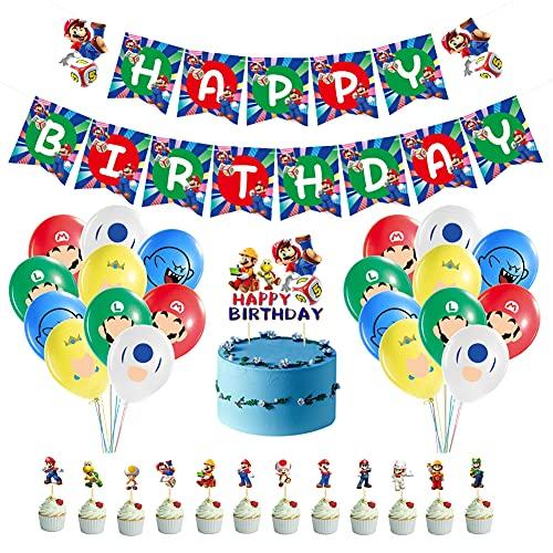 TRRY Super Mario Party Supplies, Globos Mario kit de decoración de fiesta de Mario para Niños Ducha de Bebé Fiesta de Cumpleaños, 34pcs