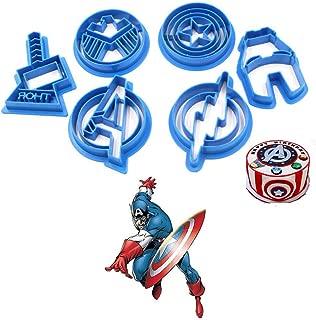 Anyana 6pcs set Superhero Captain America cartoon biscuit Cutter fondant pastry cookie impression stamp Cpt Iron Man Avengers Thor Flash Shield sugar bakery